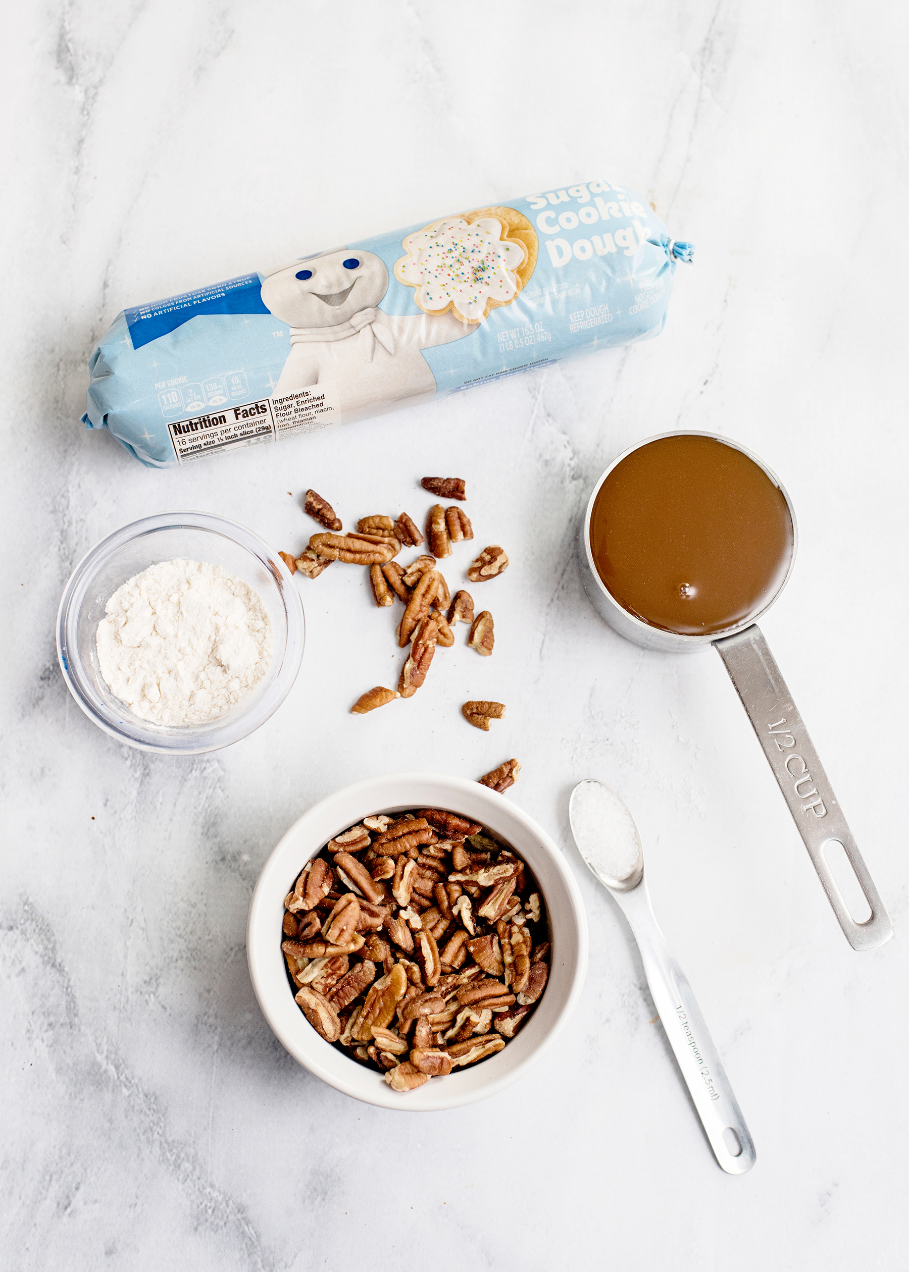 Salted Caramel Pecan Sugar Cookie Bars