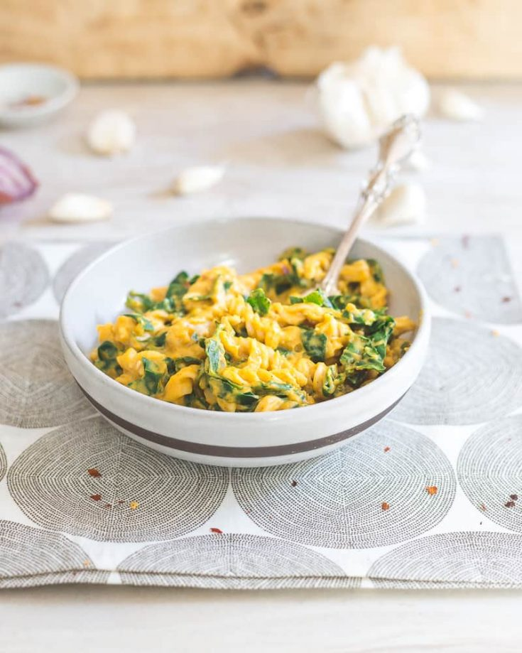 Creamy Pumpkin Garlic Pasta with Tuscan Kale
