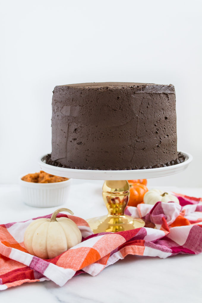 Pumpkin Cake Recipe with Fluffy Chocolate Frosting
