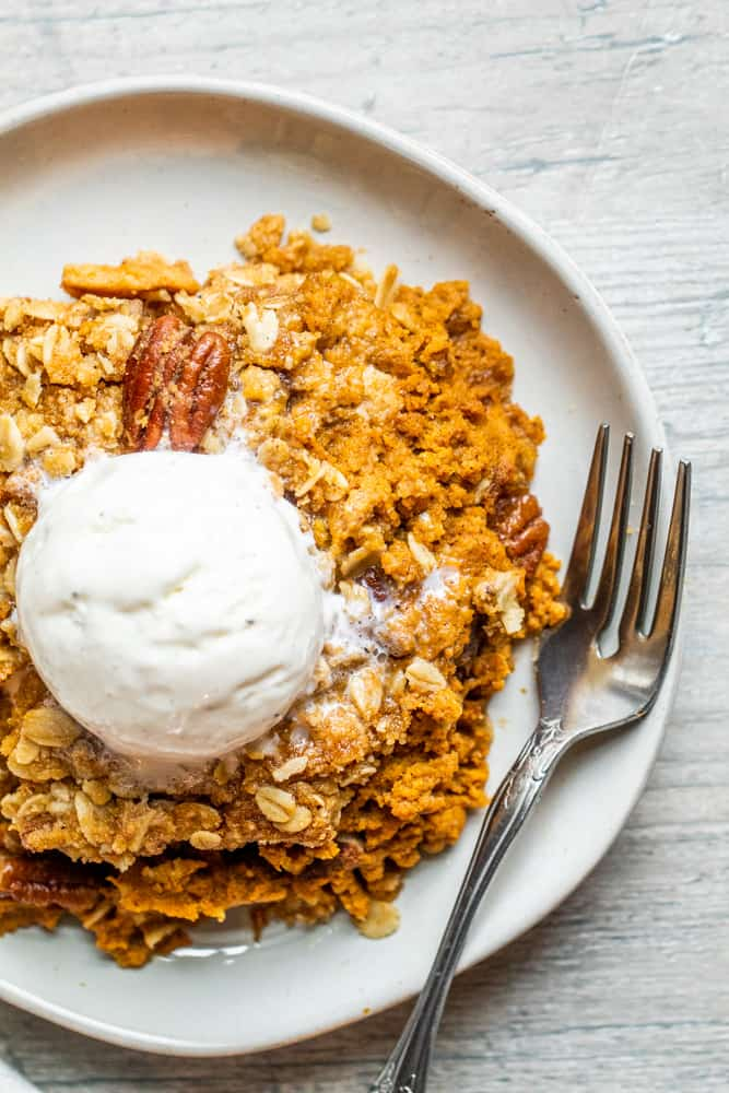 Pumpkin Crisp Recipe with Pecan Oat Topping