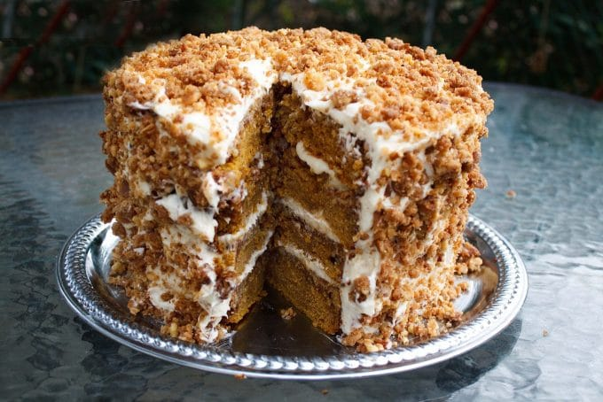 The Original Pumpkin Crunch Cake with Cream Cheese Frosting