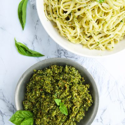 The Best Almond Pesto Fettuccini