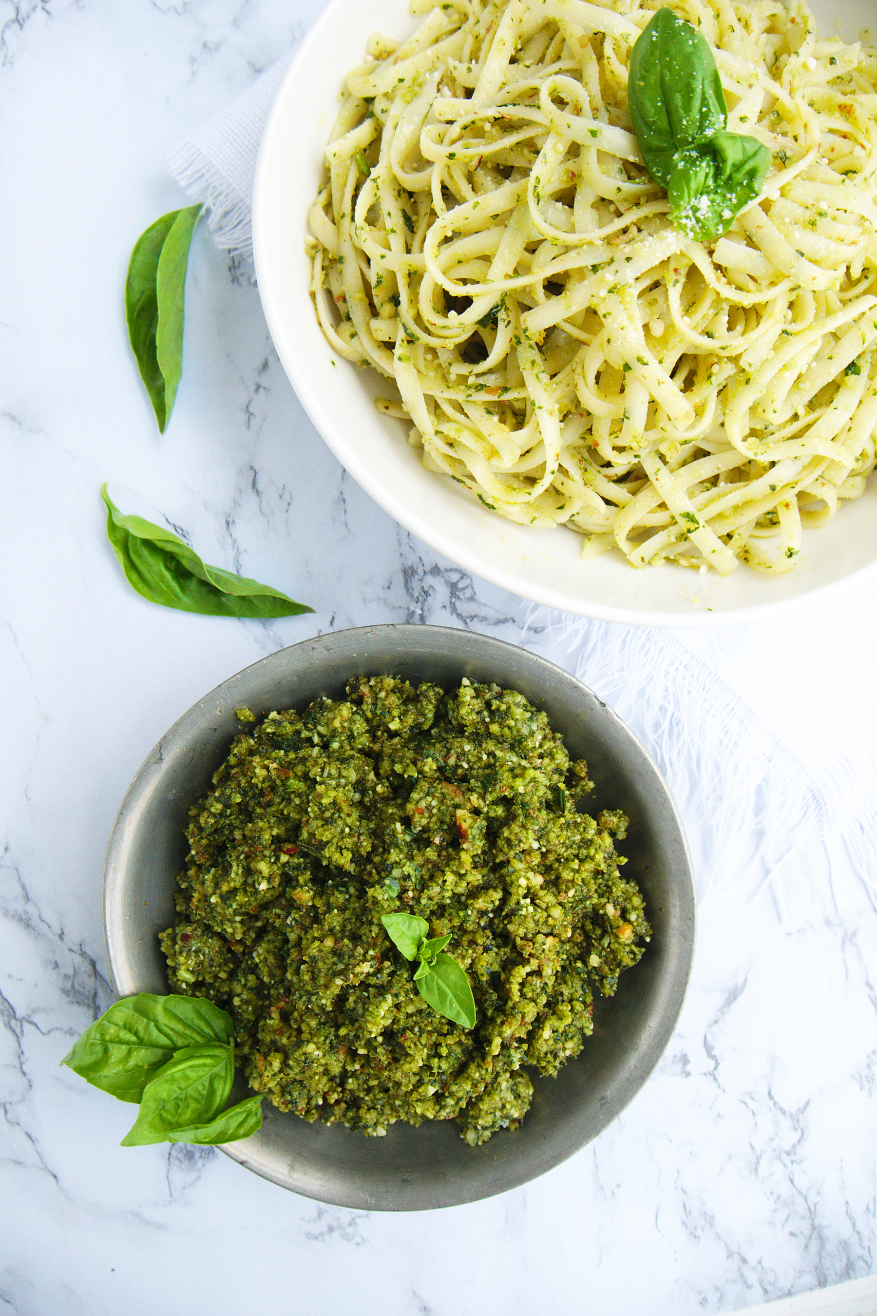 The Best Almond Pesto Fettuccine